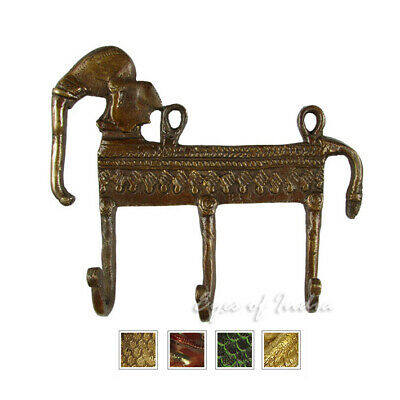 "5"" Brass Elephant Decorative Boho Bohemian Indian Wall Hook Hanger Coat Rack Bro"
