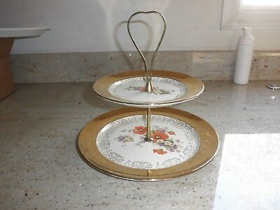Crest O Gold  2 Tier Serving Plate 22K Gold Hand Painted