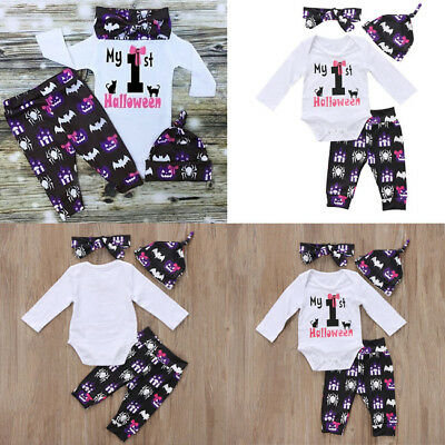 Cute Newborn Baby Girl Boy Floral Clothes Romper Pant Leggings Outfits 4pcs