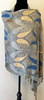 "Pashmina Brand Womens Fringed Scarf OS Blue Gold Paisley Cashmere Silk 72""x 27"""