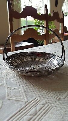 Panier en métal argenté tressé Small Braided basket in silver metal