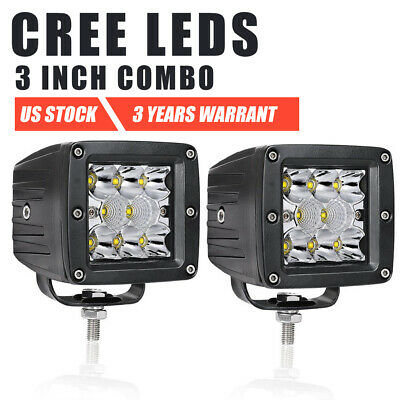 Pair 3inch CREE LED Cube Pods Work Light Bar Spot Flood Driving Offroad 4WD SUV