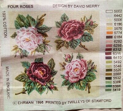 David Merry Ehrman Tapestry Needlepoint Four Roses Traditional Canvas Only Sew