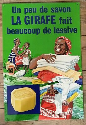 Vintage True ORIGINAL Advertising 1950s Soap  TinPlate metal Sign French