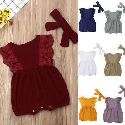 AU Stock Newborn Baby Girl Infant Lace Romper Jumpsuit Bodysuit Clothes Outfits
