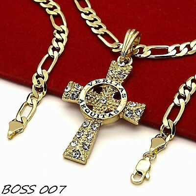 "WoW 14k Gold Plated High Fashion Symbol Cross Pendant 5mm 24"" Inch Figaro chain"