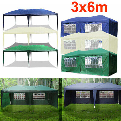 3X6M Garden Waterproof  FULLY Gazebo Marquee Party Tent With 4 Side/6 Side Walls