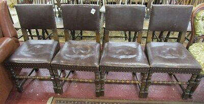 Antique Oak and Leather Chairs Set of 4 solid genuine original condition (6855