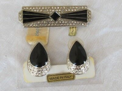 Vintage Art Deco Black Enamel Rhinestone Bar Brooch Pin & Earrings Set G6
