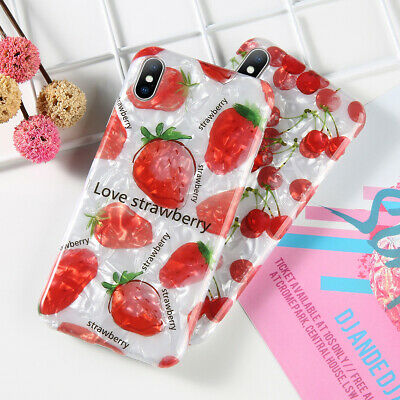Glitter Marble Fruits Pattern Soft TPU Phone Case For iPhone 8 7 6 Plus X XS Max