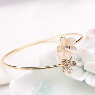 New Fashion Lady Crystal Double Five Leaf Open Bangles Bracelet