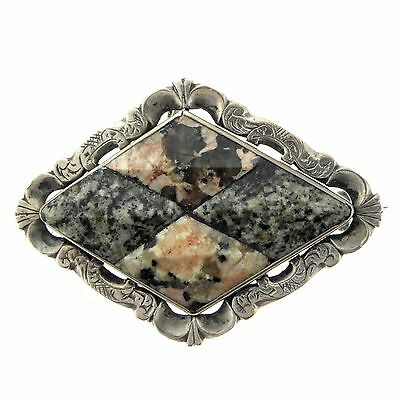 Vintage Celtic Scottish Sterling Silver Engraved Granite Diamond Shape Brooch