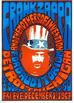 Frank zappa 1967 - Concert A3 VINTAGE BAND POSTERS Music Rock Old Advert #ob