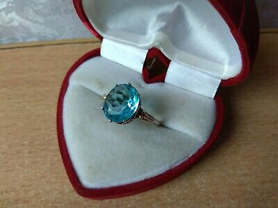 Vintage old Russian Soviet USSR SILVER 875 Ring Size 11 star blue stone