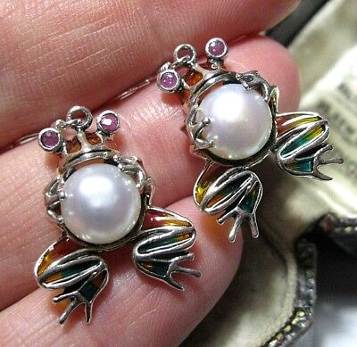 STERLING SILVER VINTAGE STYLE Art Nouveau PLIQUE A JOUR FROG Pearl DROP EARRINGS