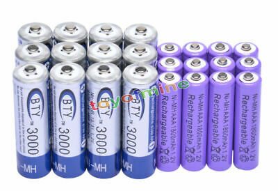 12 AA BTY 3000mAh + 12 AAA PUR 1800mAh NiMH Rechargeable Battery RC MP3 Clock