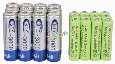 12 AA BTY 3000mAh + 12 AAA Green 1800mAh NiMH Rechargeable Battery RC MP3 Clock