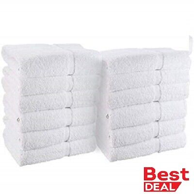 24 new white 100% cotton 10/s hotel hand towels 16x27 100% BEST DEAL  spa gym
