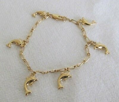 "Wow! Gold Tone Dolphin Charms 6.5"" Bracelet #t"