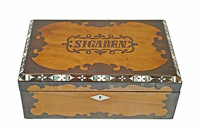 Antique Rosewood, Walnut, Bone and Mother of Pearl Inlaid Cigar Box, Dutch.