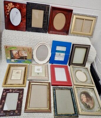 Variety vintage Ornate Fancy Picture & Photo Frames Lot of 16 Resin Wood Plastic