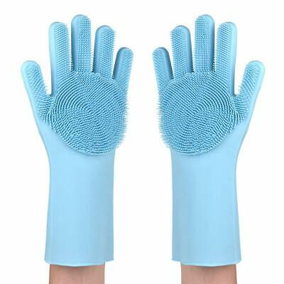Rubber Silicone Scrubber Gloves Dish Cleaning Washing Up Kitchen Body Wash Blue