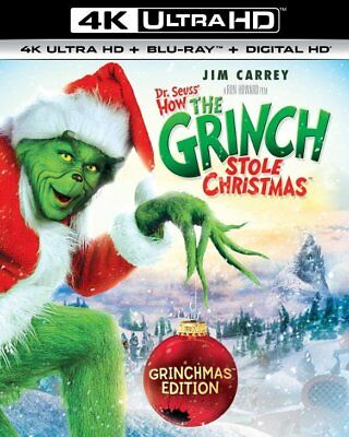 Dr. Seuss' How The Grinch Stole Christmas 4K + Blu-Ray + DHD w/Slip *BRAND NEW*