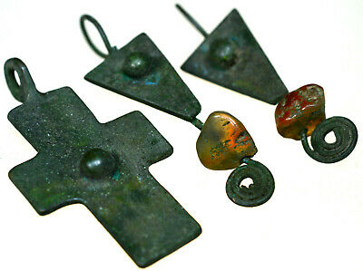 Byzantine Bronze Cross Pendant and Byzantine Bronze Earrings with Stones Set