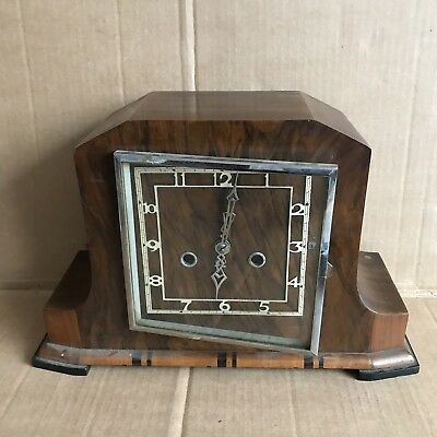 Vintage Deco Wooden Mantle Clock - Square Face with Movement Made In England