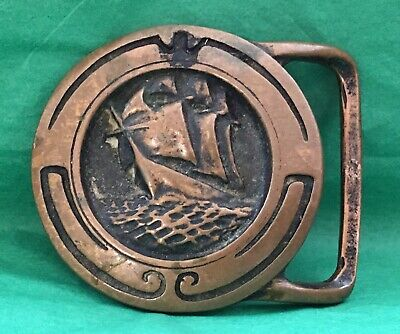 Vintage 1974 Tech Ether Guild Brass **Glory Of The Sea** Belt Buckle