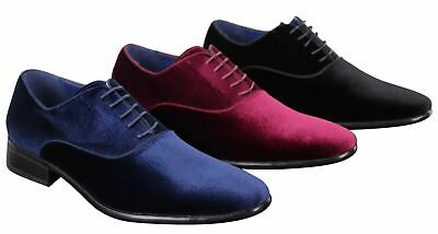 Mens Velvet Laced Shoes Smart Casual Formal Dress Italian Wedding Prom Suede