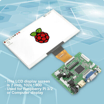 "7"" 12V Raspberry Pi 3/2 LCD TFT Display 1024*600 HDMI VGA Monitor Screen Kits"