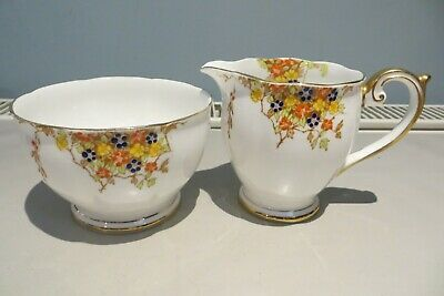 Pretty Bell China Hand Enammelled Jug And Sugar Bowl
