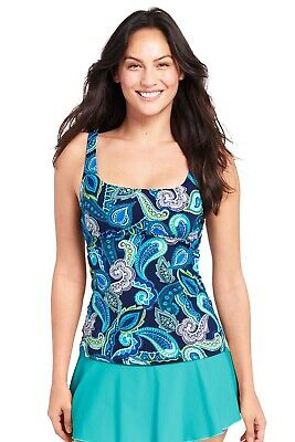 ade52b0554ce8 Lands End Women's Underwire Square Neck Tankini Swim Suit Top Paisley Size  2 NWT