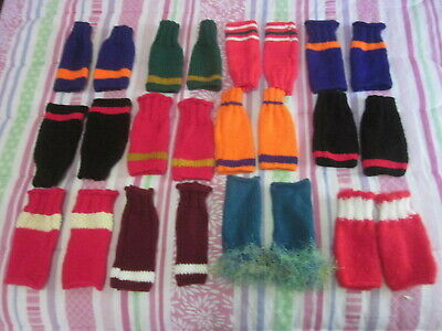Hand Wrist Warmers Fingerless Mittens Acrylic Purple Orange Hand Knit Team Color