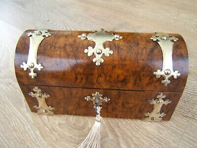 Terrific 19C Antique Burr Walnut Document/Jewellery Box - Fab Interior