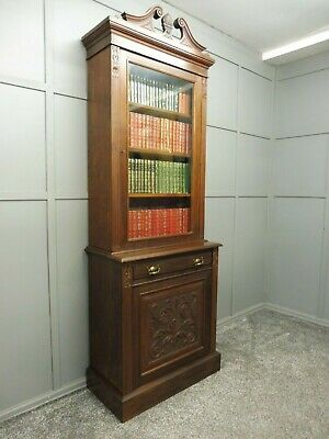 Antique Victorian Slim Walnut  Bookcase Circa 1890