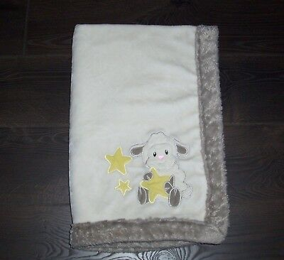Little Miracles Costco Cream Stars Lamb Sheep Baby Blanket Fluffy Furry Trim