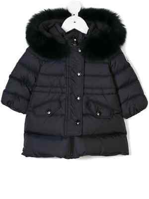 NWT NEW Moncler Essentiel Baby girls navy blue jacket coat fur 6/9 9/12m