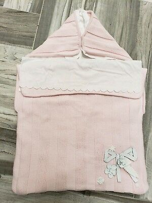 1fda65c9c NWT NEW Fendi Baby Girls pink knit white crisp cotton lined nest sleeping  bag