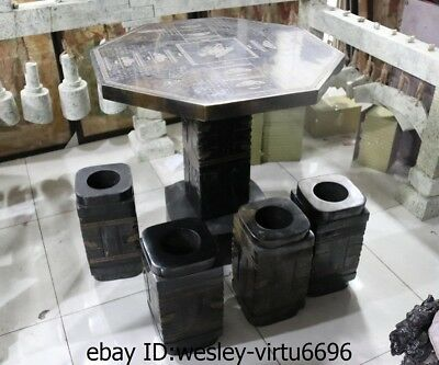 Chinese Black Stone Carved jade Zong Yu Cong Jade Cong Stool Table Four Chairs A