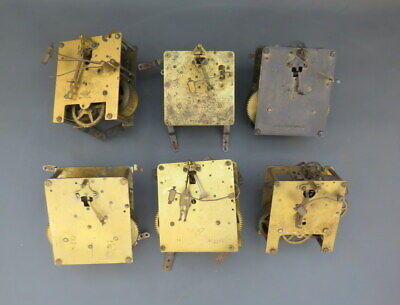 Job lot of 6 vintage clock movements for parts spares steampunk
