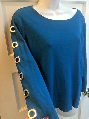 Colour Works Turquoise Blue Sweater Size L sz XL Rockabilly keyhole arms modern