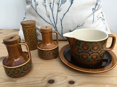 Vintage Hornsea Bronte Gravy Boat/Jug + Saucer, Oil & Vinegar Jugs and Salt Pot