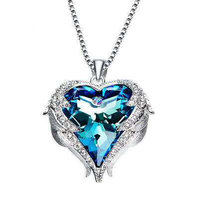 Heart Necklace Pendant Guardian Angel Wing with Swarovski Crystal 18K White Gold