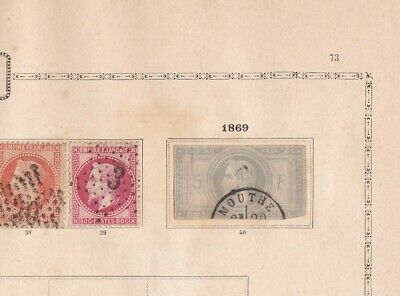 france early stamps & 1869 5 franc stamp on album page ref r8423
