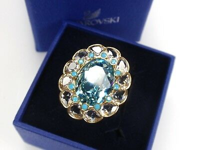07c4b7200 Swarovski Signed Gold Plated Azore Blue Crystal Ring Size 7 (55) M 5037464