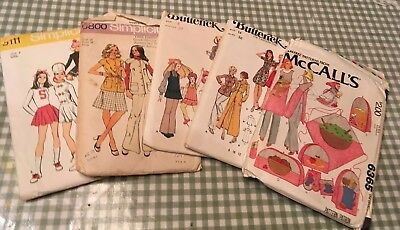 Vintage 1970's Sewing Patterns New Butterick Simplicity McCalls Kids Women Pants