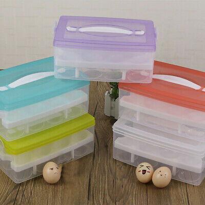 24 Grid Eggs Holder Plastic Double Layer Storage Container Refrigerator Egg Box