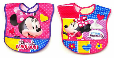 **NEW** Disney MINNIE MOUSE WATERPROOF Toddler Bibs - 2 pk **FREE SHIPPING**